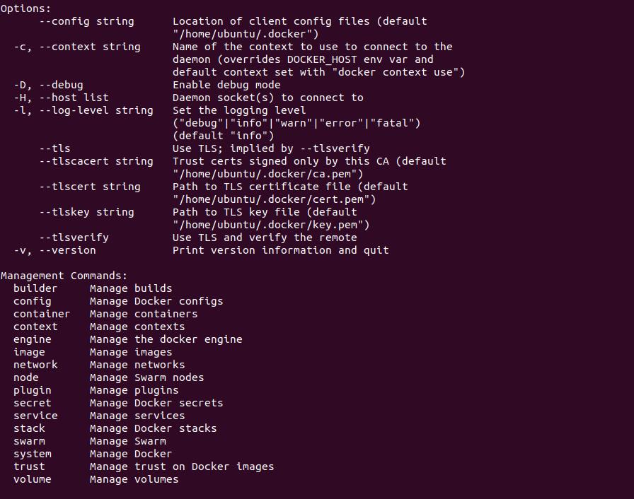 docker ubuntu опции