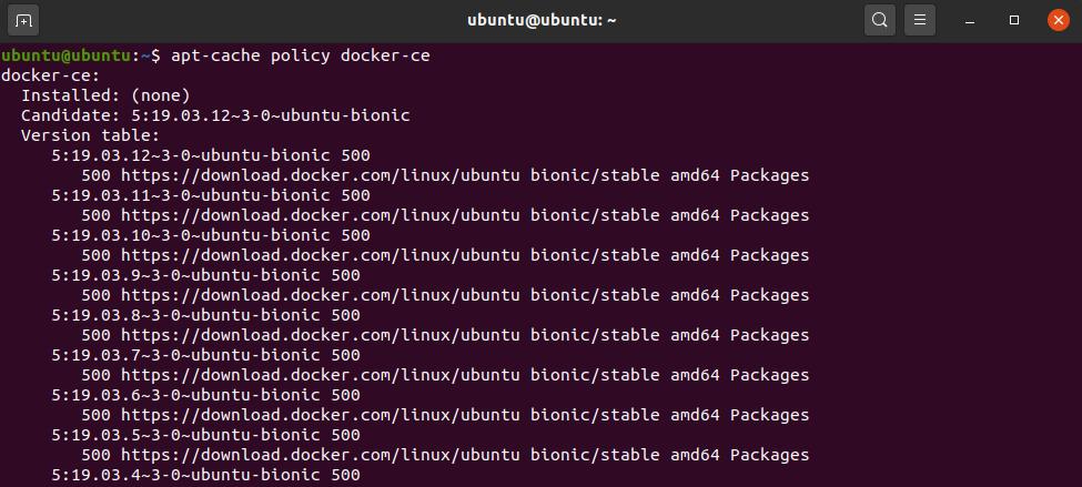 ubuntu docker-ce