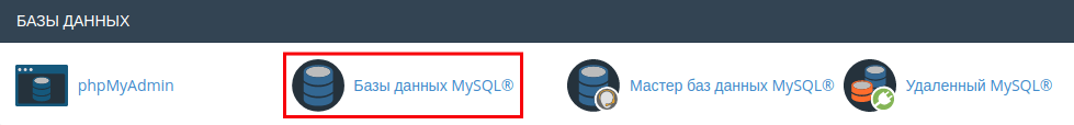 пароль базы данных cpanel 1