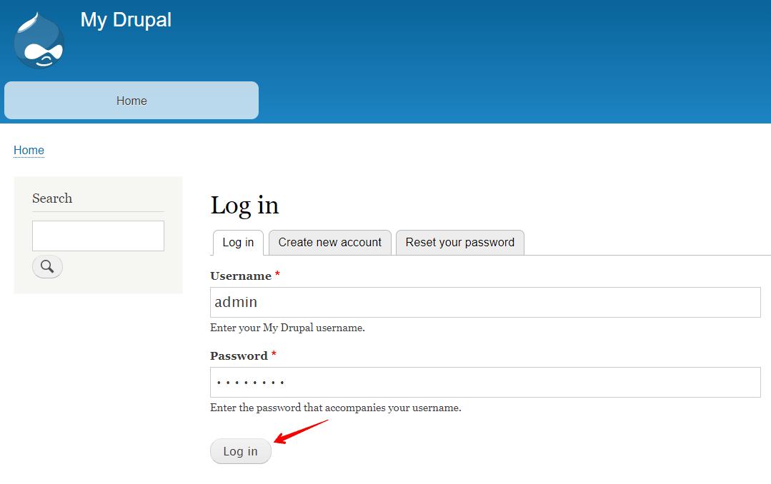 страница авторизации в drupal