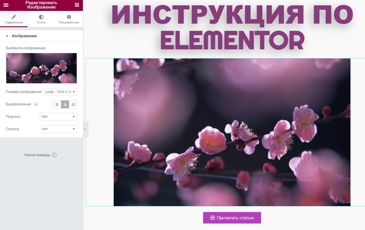 Работа в Elementor 14