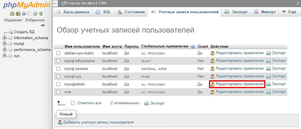 Список учётных записей и действий в phpMyAdmin