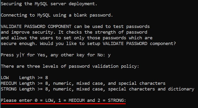 Допустимая сложность пароля в валидаторе MySQL