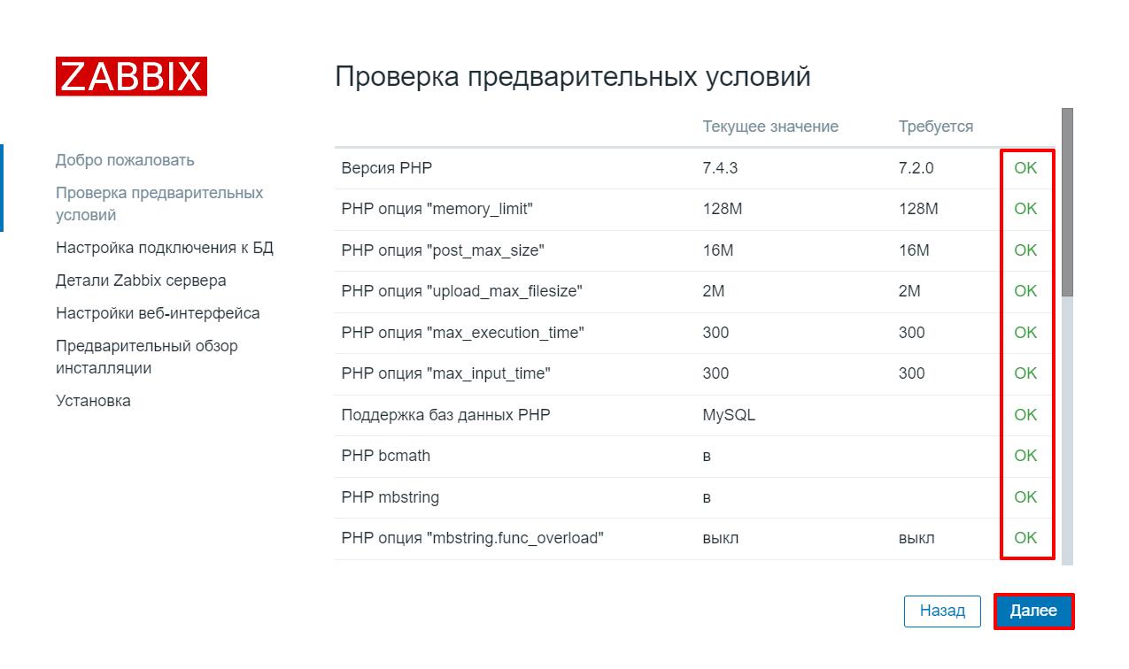 Экран проверки предварительных условий в Zabbix