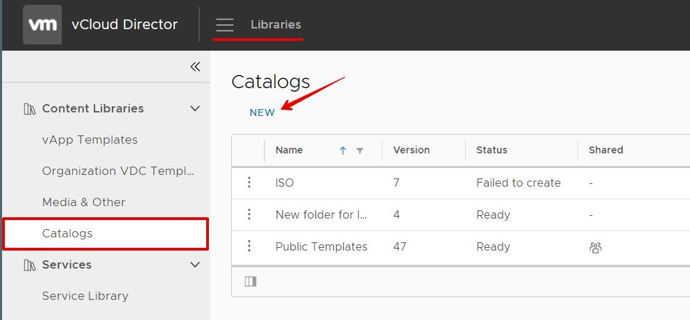 vmware создать каталог 1