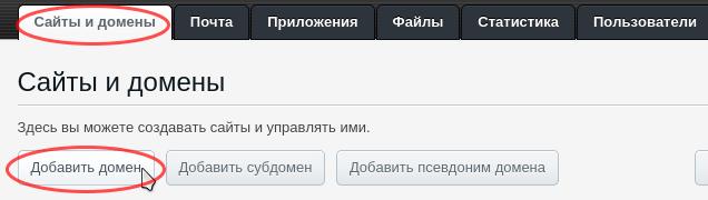 добавить домен plesk