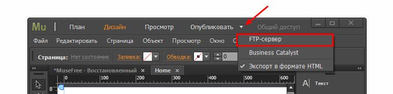 Публикация сайта Adobe Muse 2