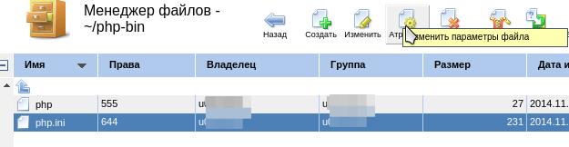 смена прав файла в ispmanager