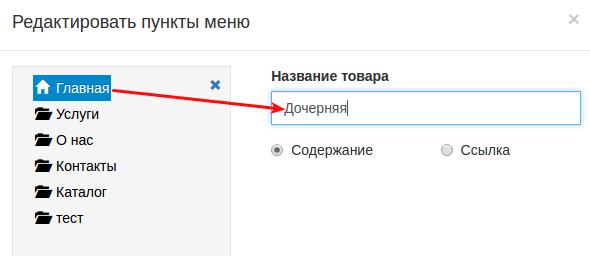 смена названия страницы в конструкторе regru 2