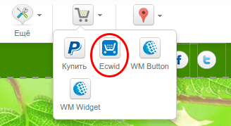 добавление магазина ecwid в конструкторе reg.ru 2