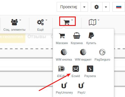 как добавить магазин ecwid в конструкторе regru 2