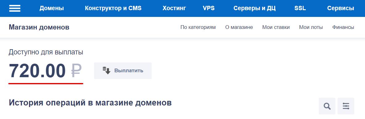 баланс магазина доменов 1