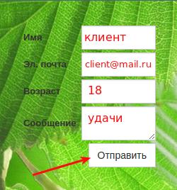 контактная форма в конструкторе regru 5