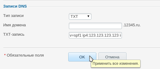 добавить запись txt в plesk