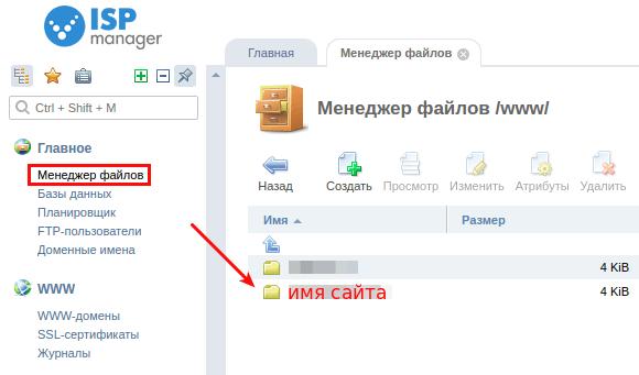 как разместить сайт в ispmanager5 1