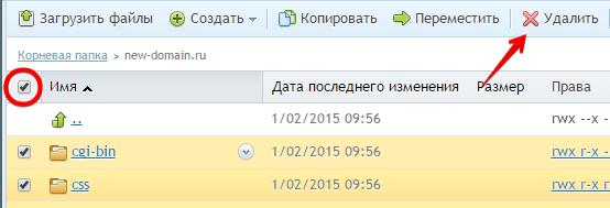 удалить файлы в plesk
