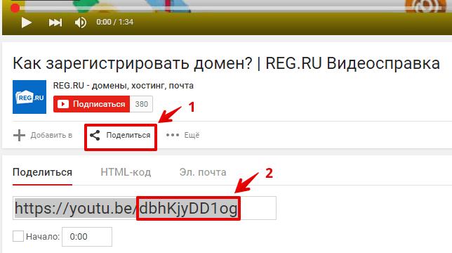 добавить видео конструктор regru 4