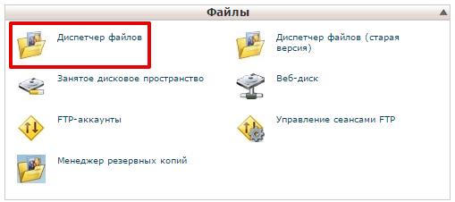 открыть менеджер файлов cpanel 1