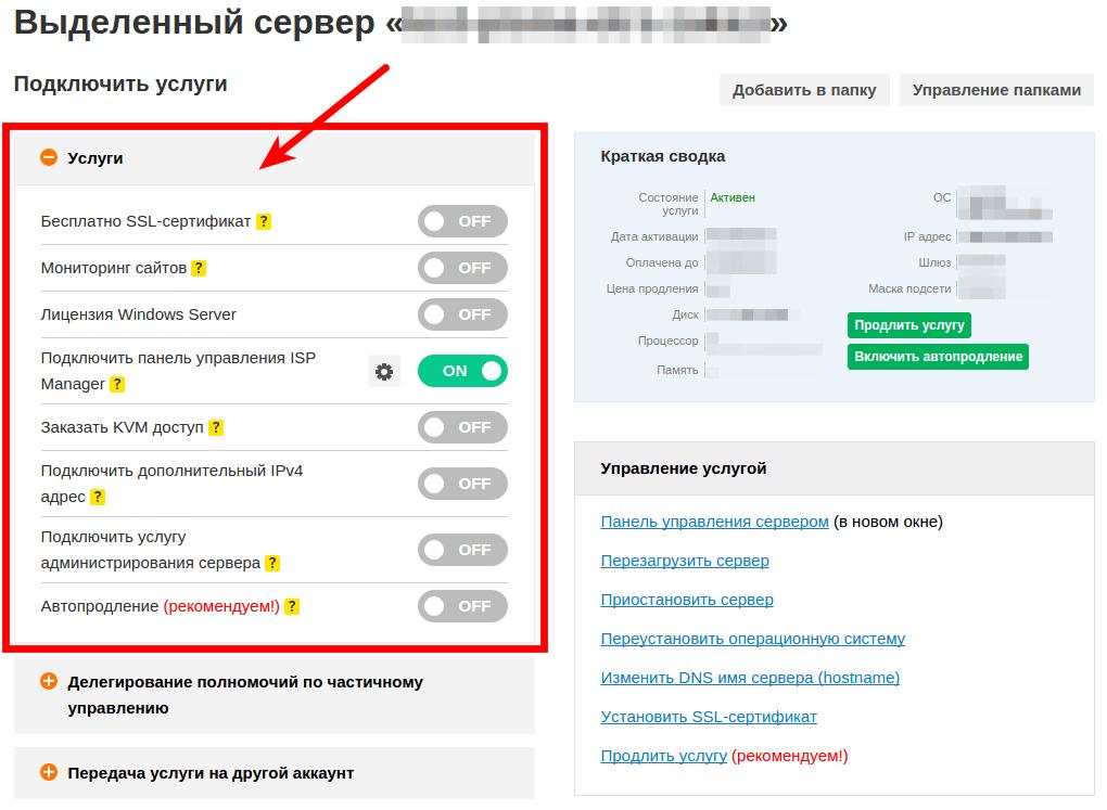 Как работать с сервером в личном кабинете reg.RU 2
