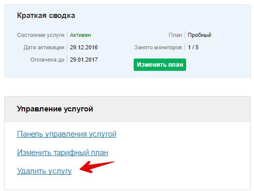 Как удалить Мониторинг сайтов