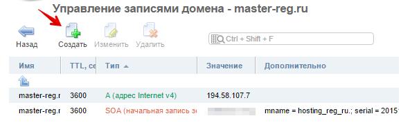 записи домена для типа мастер