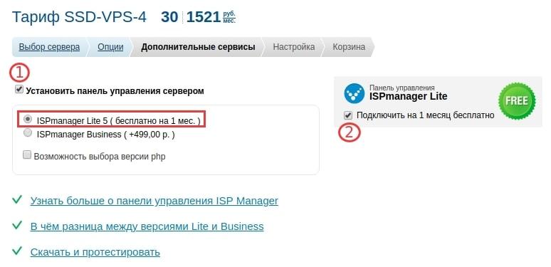 ispmanager lite подключить на 1 месяц бесплатно