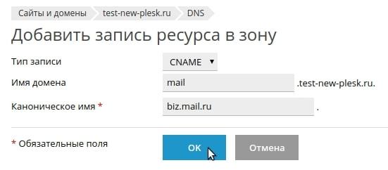 добавление cname записи в plesk onyx 17