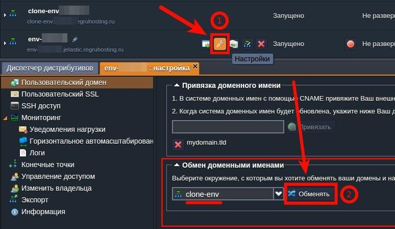 Настройка swap-domains на jelasic 2
