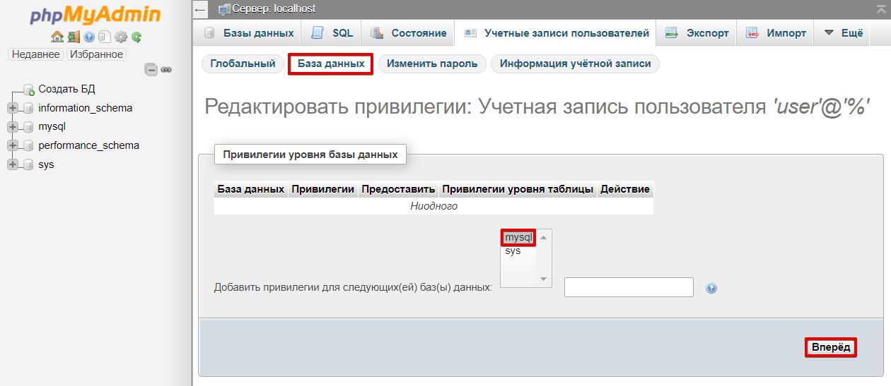 phpMyAdmin Базы данных