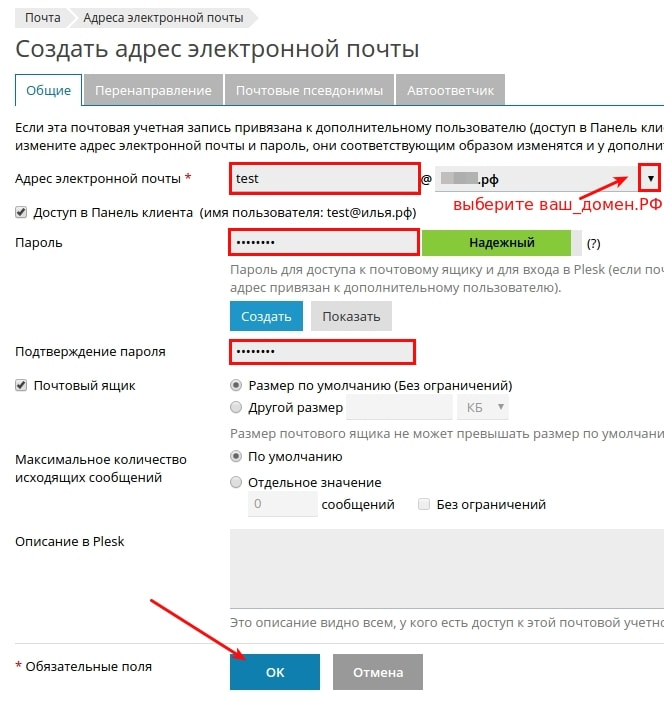 почта на домене idn plesk onyx 2