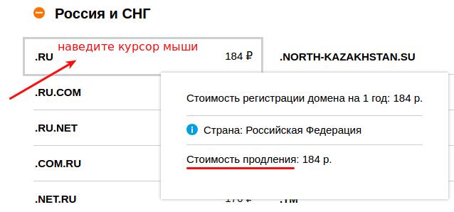 стоимость продления домена