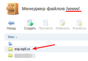 папка сайта ispmanager5 3