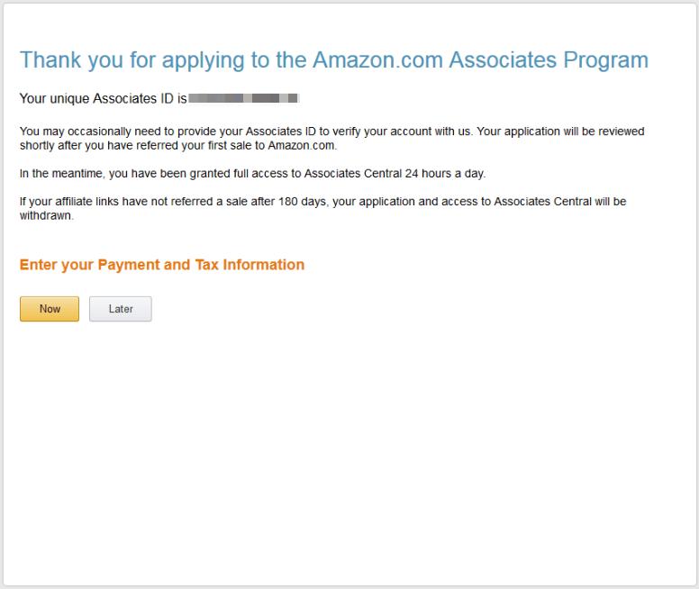 завершение настройки аккаунта amazon associates