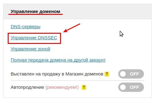 пункт управление dnssec