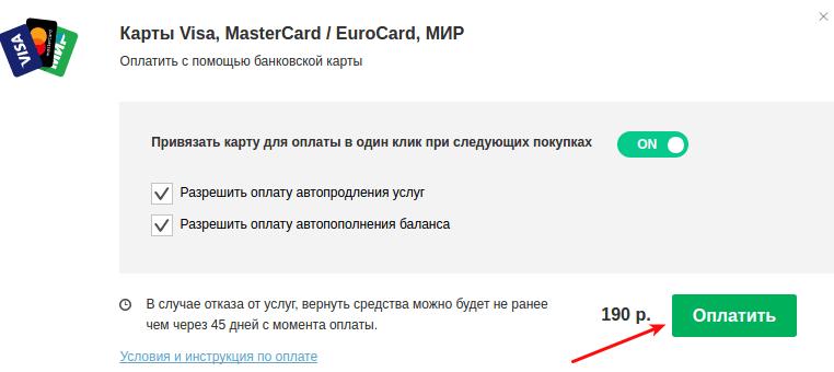 оплатить банковской картой 1