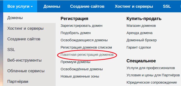 пакетная регистрация домена